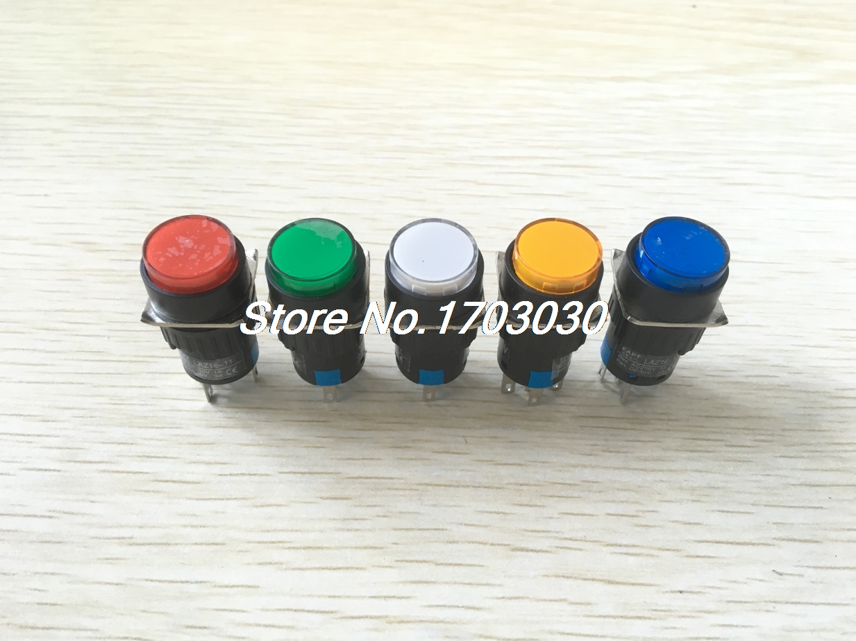 5pcs AC220V Indicator LED Light SPDT Momentary Round Head Pushbutton Switch 16mm [vk] aml22cbx3ab switch pushbutton spdt 3a 125v switch