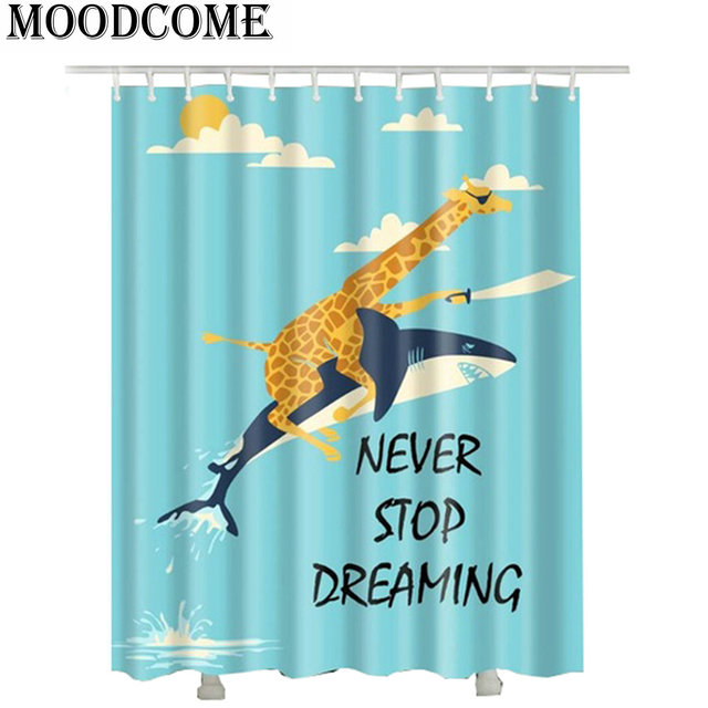 Never Stop Dream Giraffe Ride Dolphin Bathroom Curtains Polyester Hot Lovely Shower Curtain