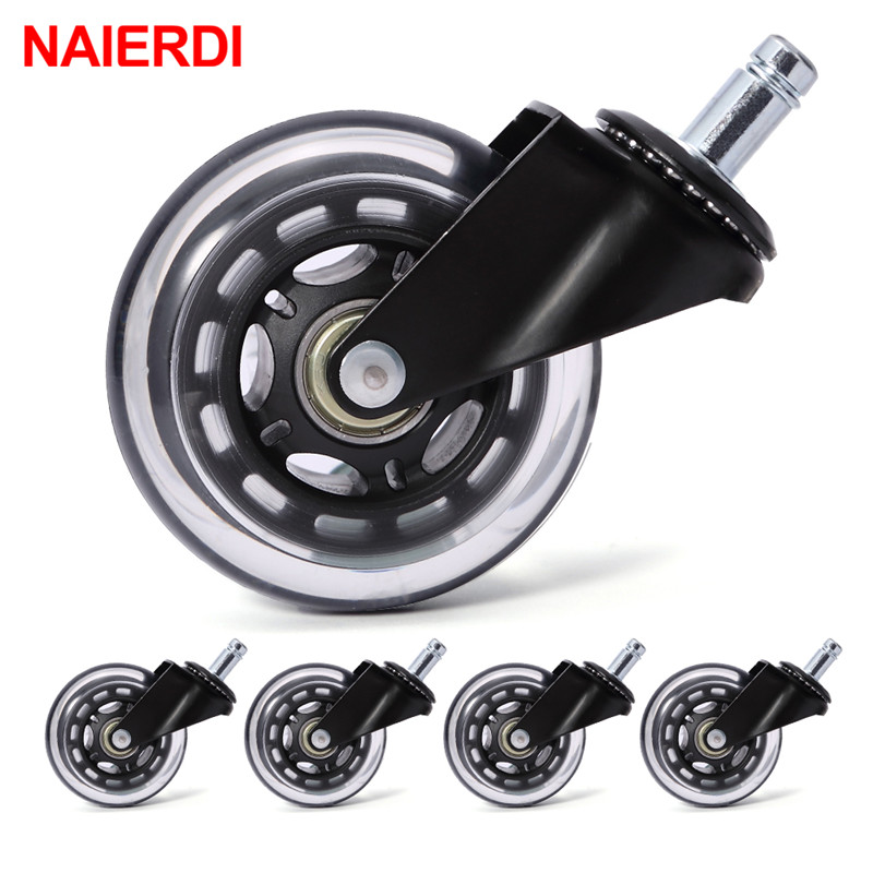 NAIERDI 5PCS Office Chair Caster Wheels 3 Inch Swivel Rubber Caster Wheels Replacement Soft Safe Rollers Furniture HardwareNAIERDI 5PCS Office Chair Caster Wheels 3 Inch Swivel Rubber Caster Wheels Replacement Soft Safe Rollers Furniture Hardware