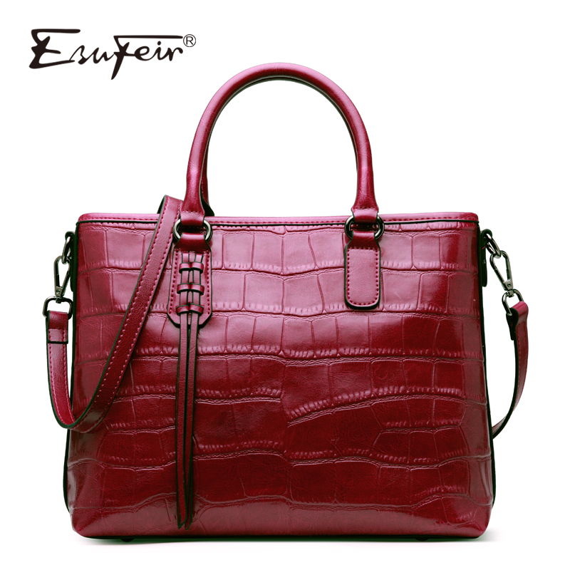 New ESUFEIR Genuine Leather Stone Pattern Women Handbag Famous Brand Design Messenger bag Fashion Tassel tote bags crossbody bag fashionable women s tote bag with zipper and stone pattern design