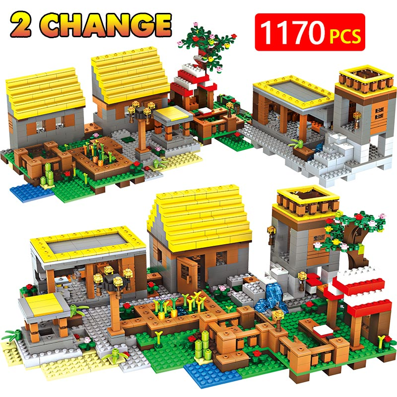 Technic Minecrafted Gold house Village Toys For Children Classic Dream Home Cottage DIY Bricks Action Figures