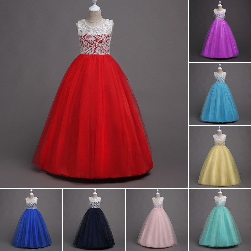8 Color Baby Girl Dress Baby Clothes Lace Gauze High Waist Sleeveless Mop Long Dress Hosted Party Birthday Party Princess Dress