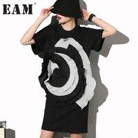 Soonyour 2017 Fashion New Level Stereo Large Flowers LO Neck Short Sleeved Black Dress Female