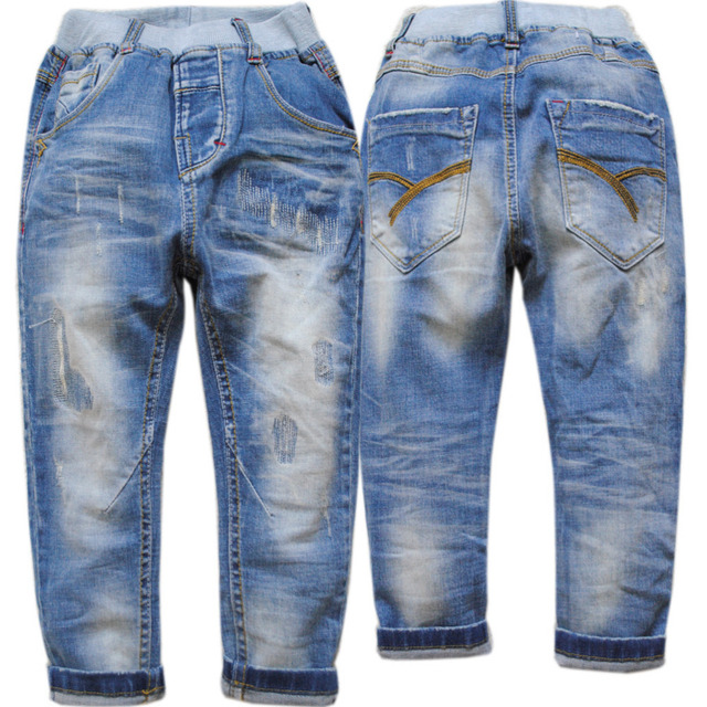 4018 soft denim light blue boys jeans pants  casual trousers spring autumn children fashion jeans boy new nice