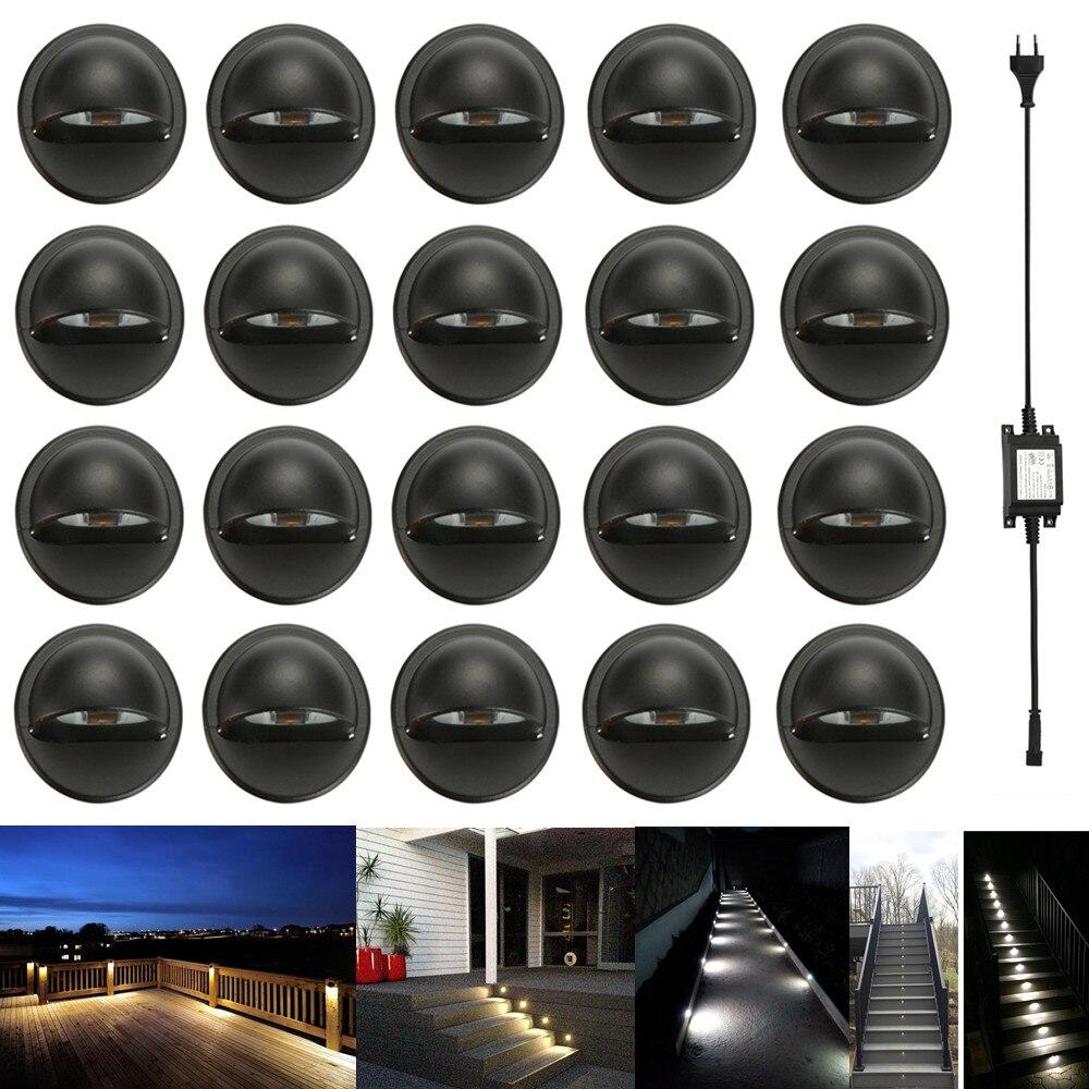 20Pcs Black Half Moon 35mm LED Deck Step Stair Fence Plinth Lights Low Voltage DC12V + 30W Transformer