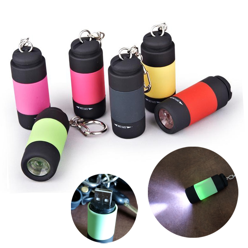 USB RECHARGEABLE PORTABLE LED LIGHT FLASHLIGHT CAMPING KEYCHAIN MINI TORCH SUPR