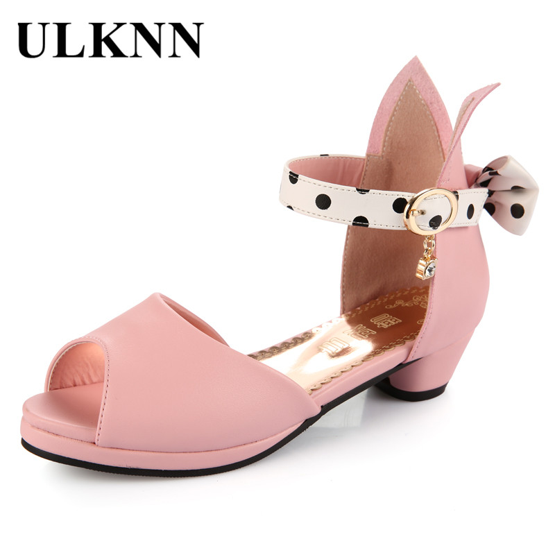 ULKNN Peep-Toe Girls Sandals Summer Kids Shoes Genuine Leather Bowtie Low Heel Shoes For Girls Princess Children Shoes Sandalias ulknn glitter children girls high heel shoes for kids princess sandals bowtie knot infant baby girls shoes for party and wedding