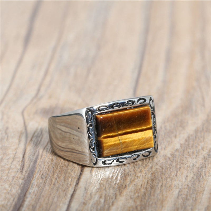 Vintage Square Black Onyx Tiger Eye Stone Wide Band Ring Men In Titanium Stainless Steel Natural Stone Simple Design Top Quality