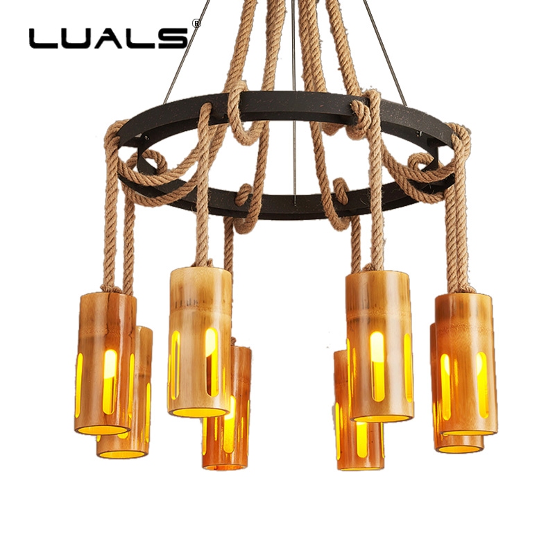 Loft Hanging Lamp Bamboo Tube Pendant Lights Creative Art Light Fixture Indoor Suspension Luminaire Pendant Lights Led Lighting loft style creative rope bamboo tube vintage led pendant lights fixtures for home dining room hanging lamp suspension luminaire
