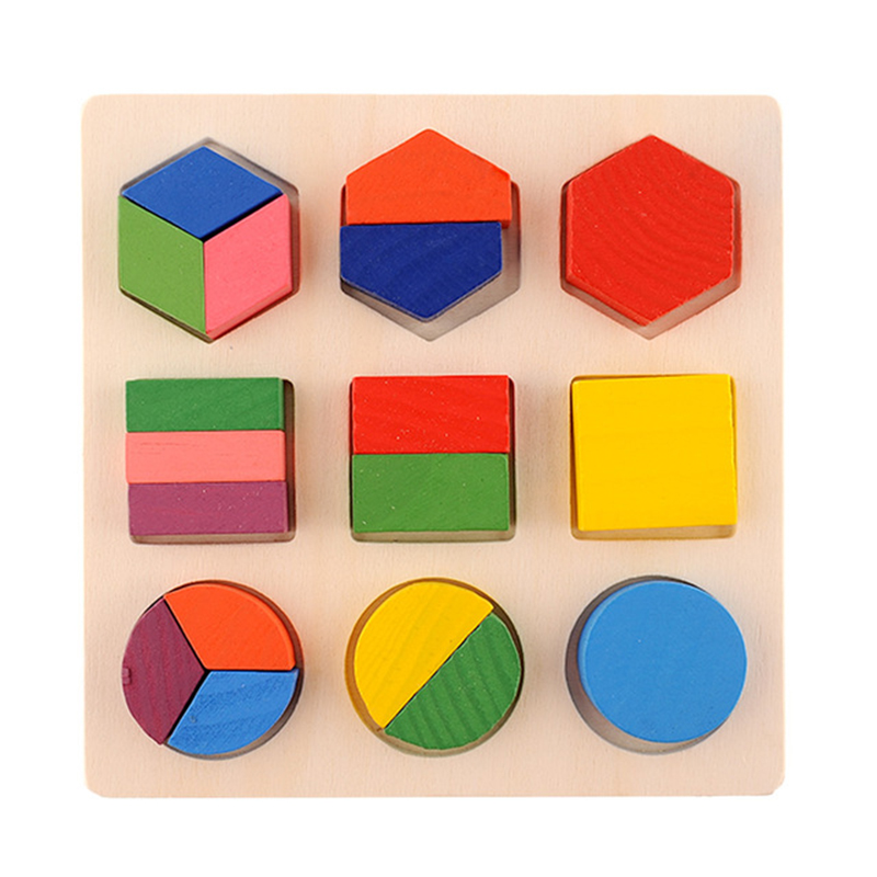 Early education wooden three - dimensional toys geometric shape Baby Wooden Building Block Toy WJ472 baby toys wooden block 12 pcs models