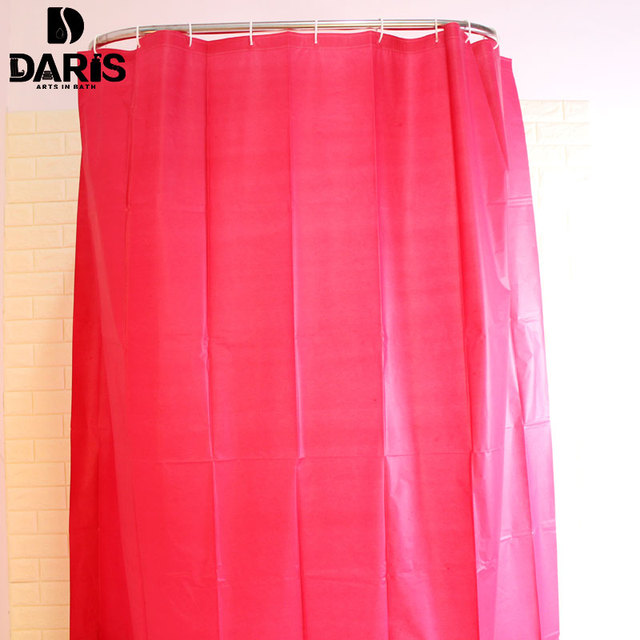 SDARISBS Plain Plastic Polyester Shower Curtain Bathroom Green Colorful With 12pcs Hooks Waterproof Bath Product