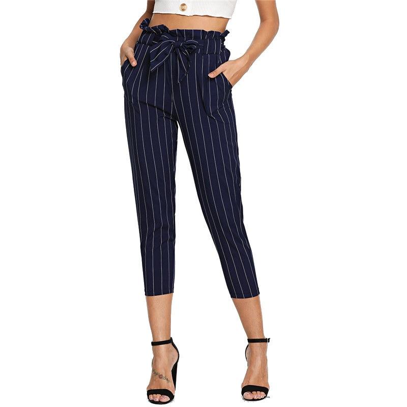 Navy Workwear High Waist Pants Striped Frill Ruffle Waist Self Tie Pants Capri Women Autumn Belted Casual Harem Pants