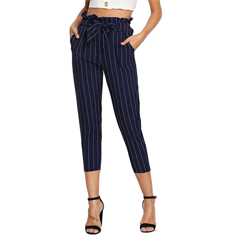 Navy Workwear High Waist   Pants   Striped Frill Ruffle Waist Self Tie   Pants     Capri   Women Autumn Belted Casual Harem   Pants