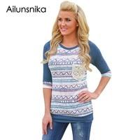 2017 Fashion Women S Tshirt Summer Autumn Style Lace Pocket Long Sleeve Print Shirts T Shirt