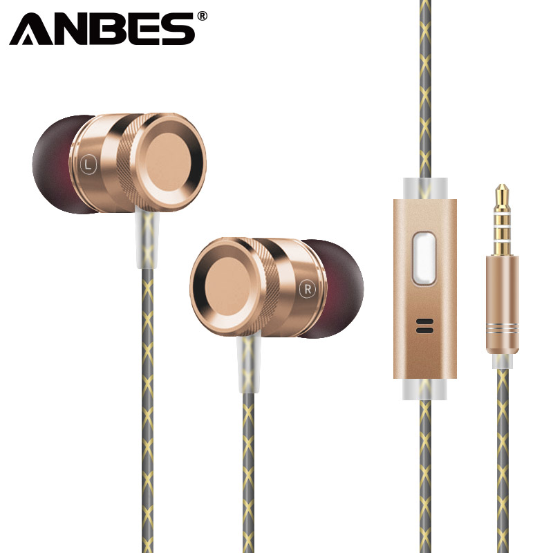 ANBES G63 Headphone Metal Heavy Bass In Ear Earphone Resist <font><b>Twine</b></font> With Microphone Headset For Mp3 iPhone Android Xiaomi