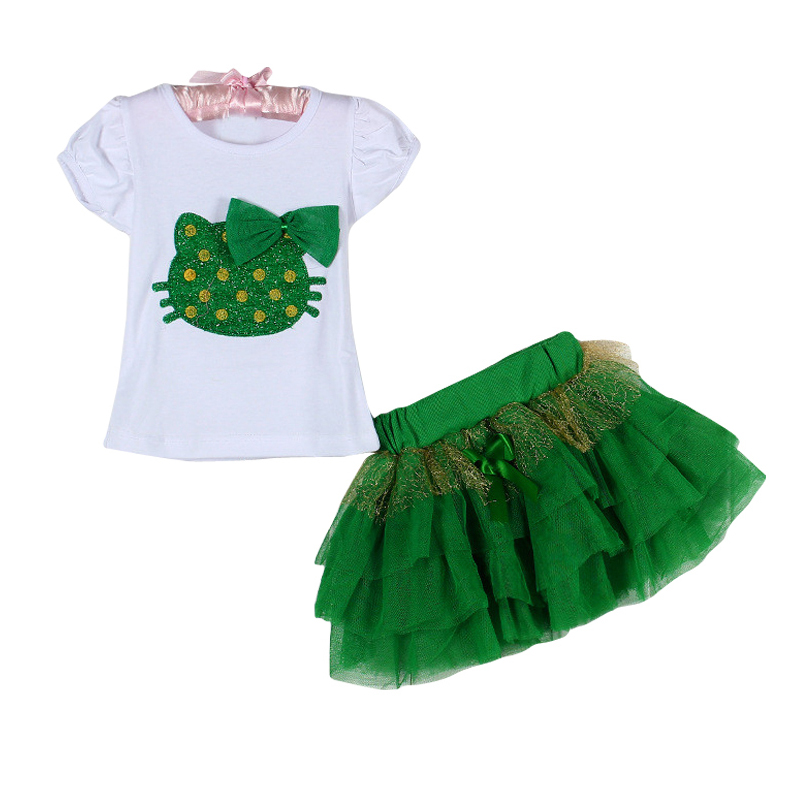 Baby Girls Clothes New Fashion Top Selling Girls Clothing Sets The Cat T-Shirt + Tutu Skirt Dress Clothing Kids Suit 2~6 T