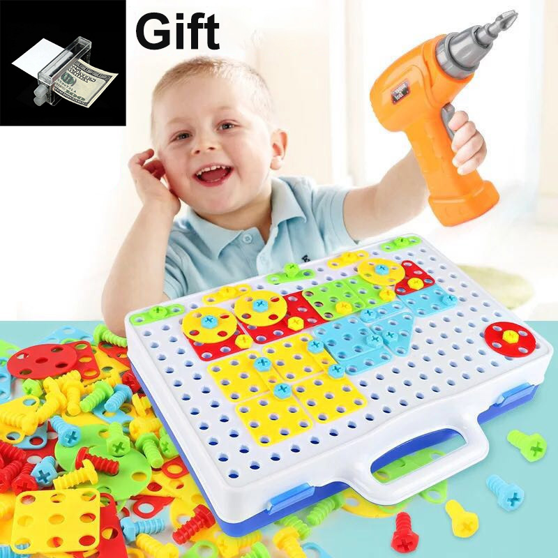 149Pcs Drill Toy for boys Electric Screws Puzzle Assembled DIY Building Toys Pretend Play Creative Tool Kit Toy For Boys Or Girl