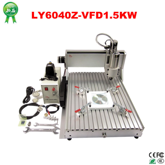 Wholesale price mini cnc router LY 6040Z-VFD1.5KW cnc cutting machine for hard metal with cnc parts 1300 900mm 200w fiber camra cutting machine for 2mm metal with good quality price