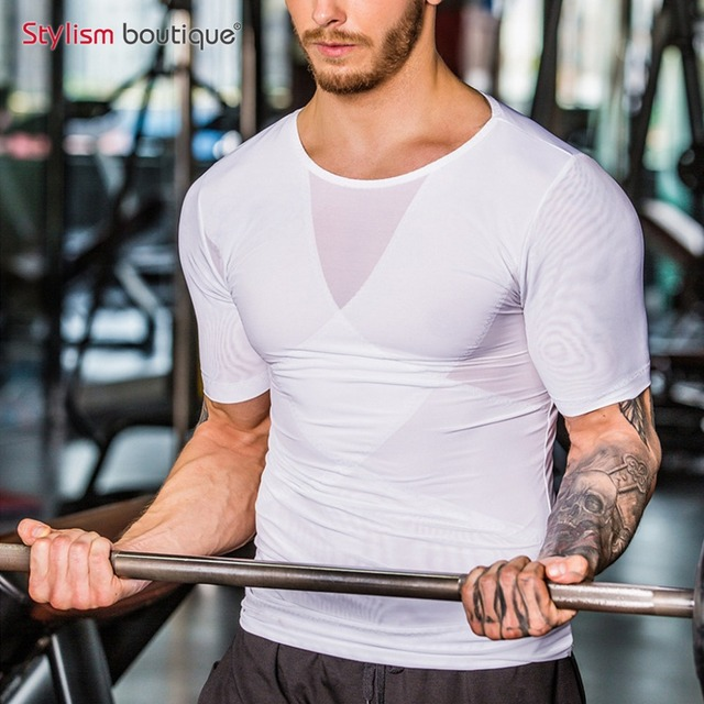 2018 New Men Shapers Corset Slimming Undershirts Shirt Body Shaper Men Posture Corrector T-shirt Elastic Tee Abdomen Underwear