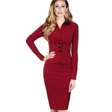 New Fashion Women Formal Turn-Down Collar Long Sleeve Vintage Wear to Work Bodycon Stretch Pencil Dresses Autumn Winter G749