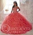 Melancia 2017 Quinceanera Vestidos Pedrinhas Decote Plus Size Sweet 16 Vestidos de Princesa Vestidos De Quinceaneras