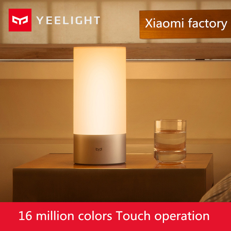 Original Xiaomi Yeelight Smart Lights Indoor Bed Bedside Lamp 16 Million RGB Light Touch Control Bluetooth For Mijia Mi home APP 2016 yeelight original smart night lights indoor bedside lamp 16 million rgb lights touch control bluetooth for phone xiaomi