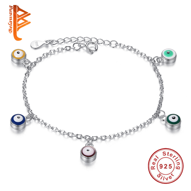 high quality five colors evil eye real 925 sterling silver bangle chain link bracelets for women  jewelry