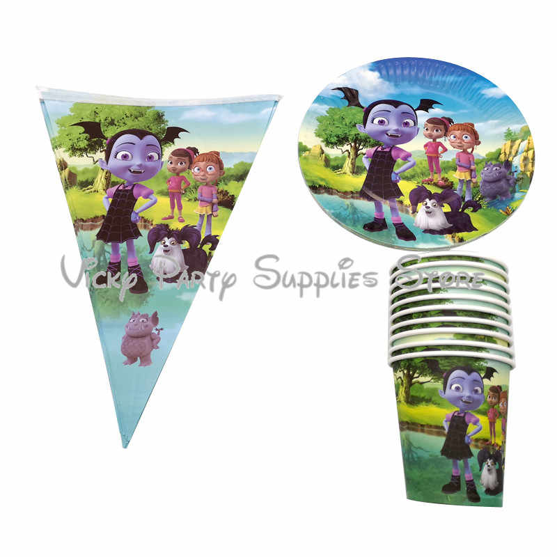 30pcs/lot Vampirina Girl Theme Cartoon Party Tableware Set Paper Cup Plate Flags Set Birthday Baby Shower Party Supplies