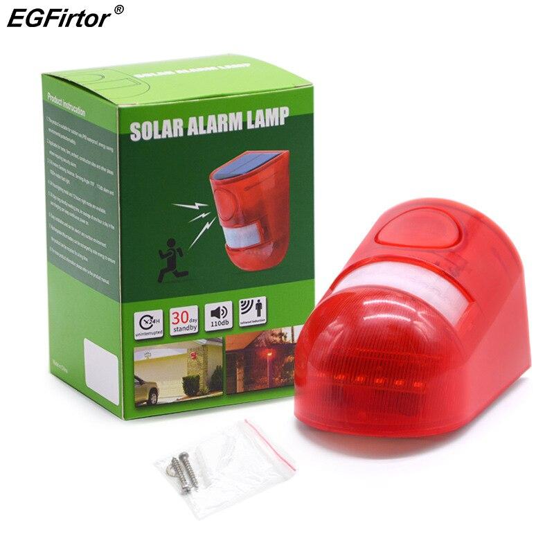luz de alarma solar a prueba de agua IP65 Luz de sirena de seguridad de advertencia de sonido de 110db para casa patio villa Luz estrobosc/ópica solar con detector de movimiento granja granero