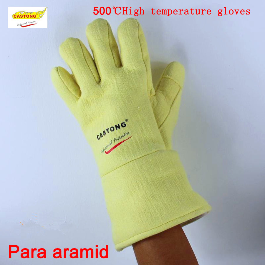 CASTONG 500 degrees high temperature gloves Aramid Flame retardant Insulation safety glove super fire gloves цена