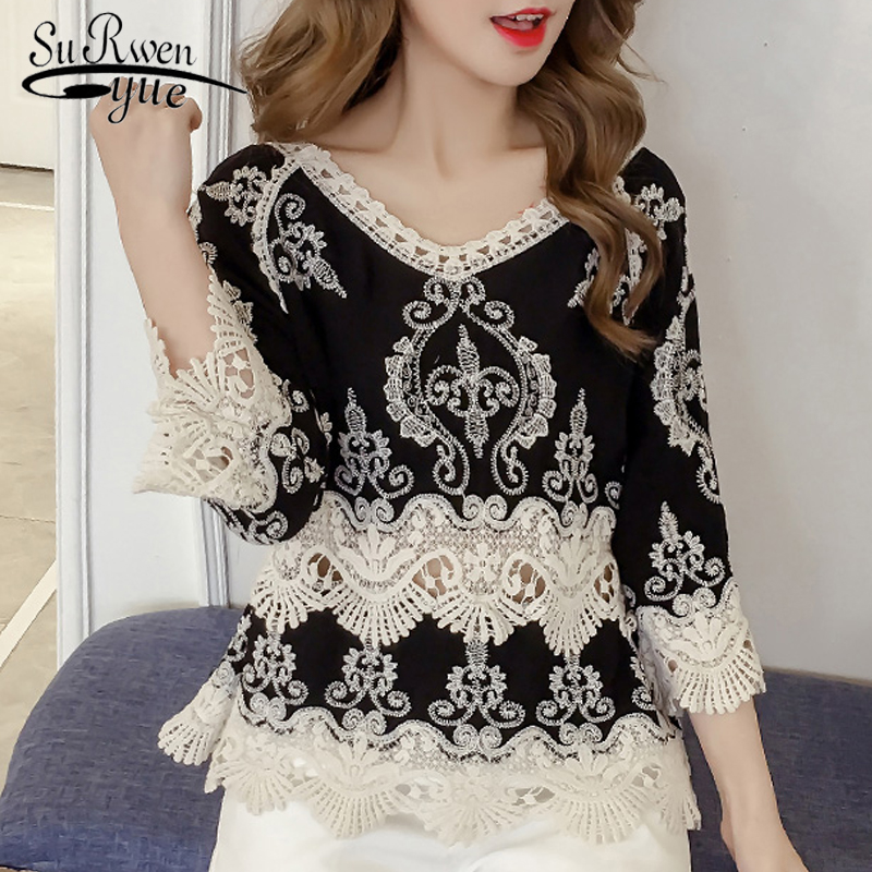 2018 fashion summer tops lace blouse women shirt plus size sexy hollow lace shirt flare sleeve women's clothing blusas 0103 30