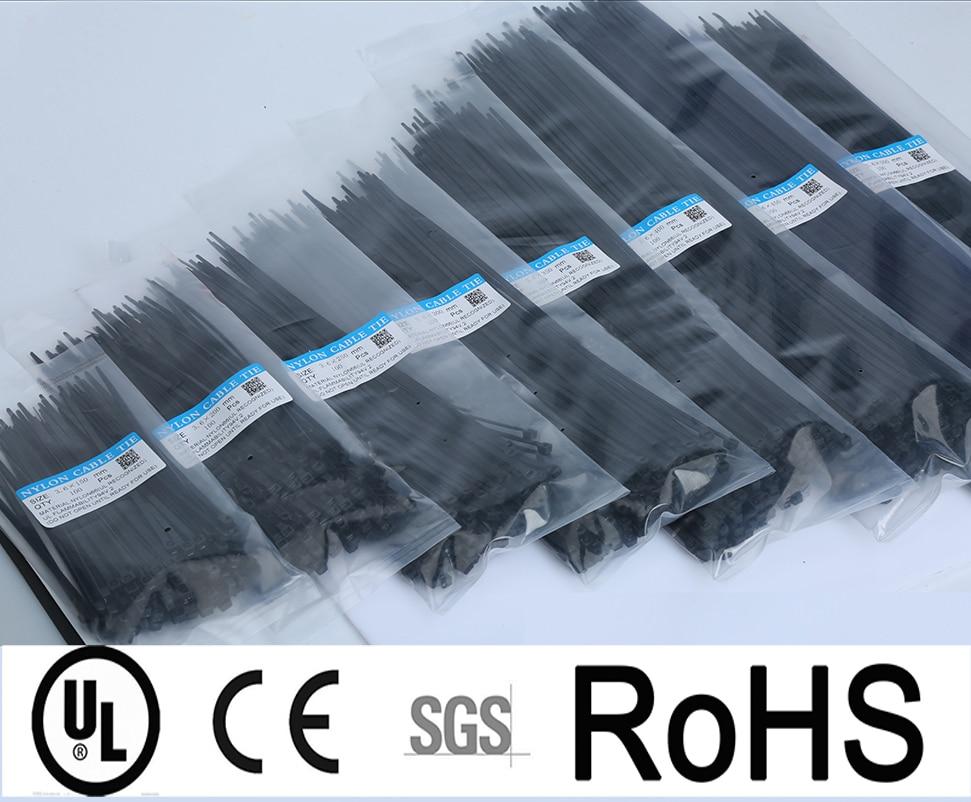 Width 4.8mm Self-locking Nylon Cable Ties 8inch Plastic Zip Tie 18 Lbs Black Wire Binding Wrap Straps UL Certified 300 350 400mm
