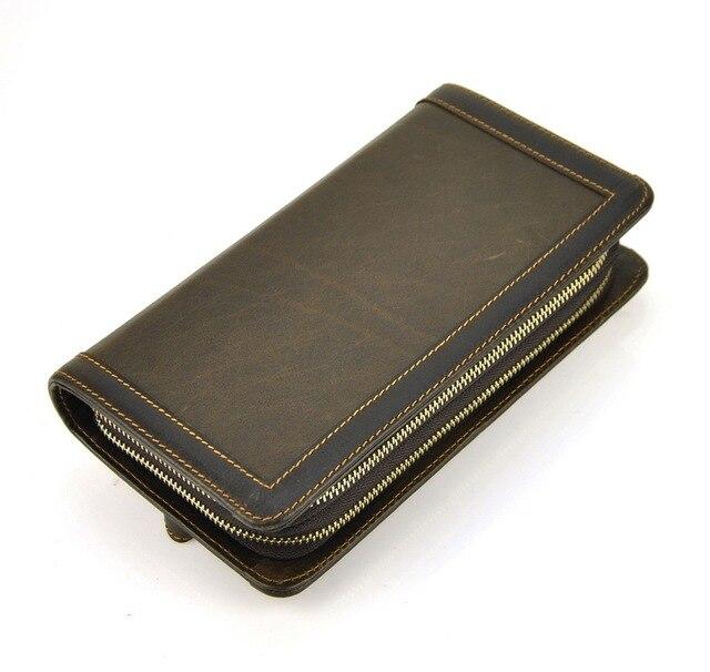 men vintage genuine leather clutch wallet double zip around credit card holder cellphone mobile retro long - Zip Card Holder