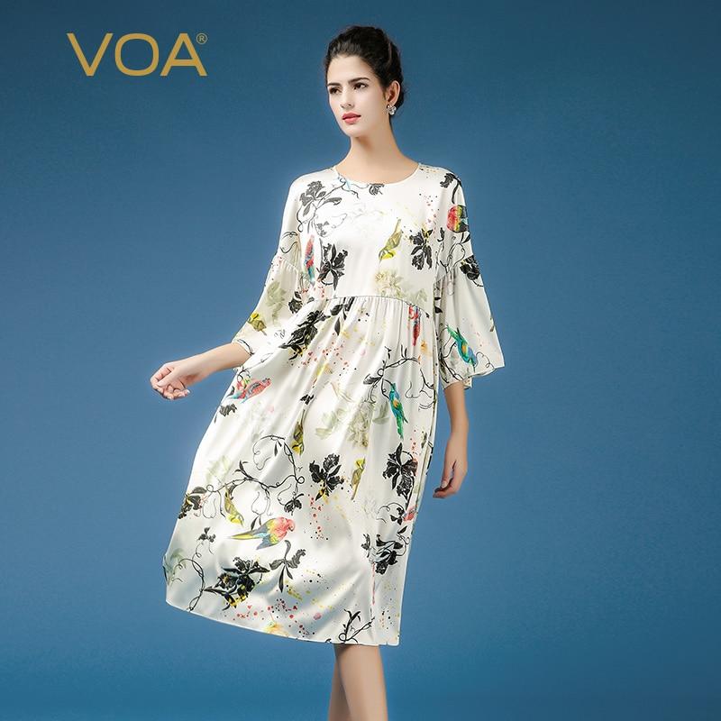 VOA Flare Manches Plus La Taille Lâche Occasionnel Robe Imprimée Mignon Fleur Harajuku Taille Haute Femmes Robes De Soie 2018 Automne Vêtements a7362