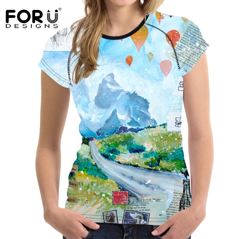 FORUDESIGNS Graffiti Pattern font b Women b font Summer T shirt 2017 Brand font b Clothes