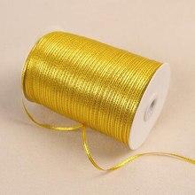 10/20/25/50 Yards los 3 mm Breite Goldene Seite Satin Band Nähen Geschenk Verpackung Stoff Gurtband bänder Für Home Hochzeit Dekoration