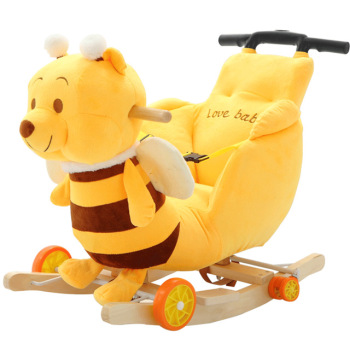 Children Rocking Chairs Baby Rocking Horse Ride on Animal Toys Dual-purpose with Music Baby Bouncer Wheel Chair Stroller 5M~4Y