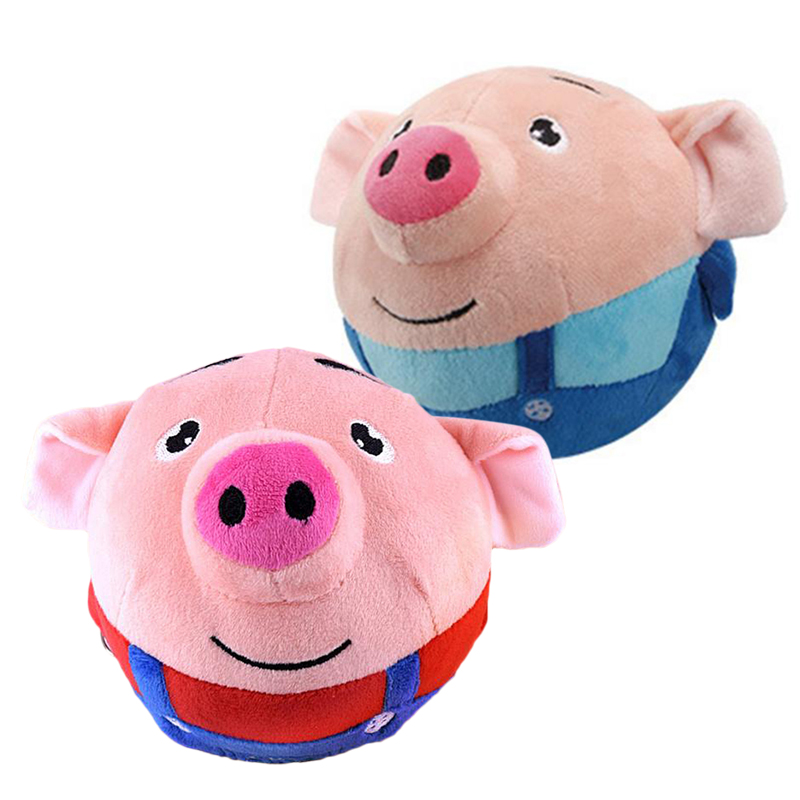 MrY72 Songs Recordable Cartoon Seaweed Pig Doll Bouncing Ball USB Electric Plush Interaction Washable Beating Sing Jump Cute Toy