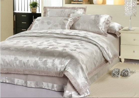 120417   free shipping  Luxurious  printed 4pcs bedding set/silk 4pc bedding set/ bedding