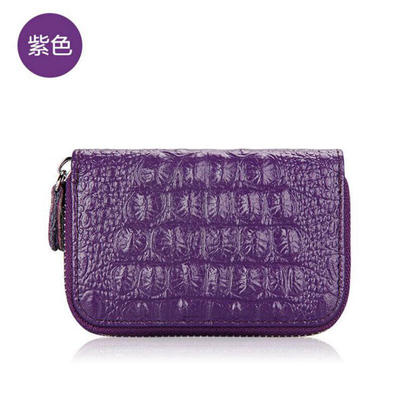 FOROCH Brand Women Crocodile Zipper Credit Card Holder Genuine Cow Leather Fashion Cardholder Case Extendable id Holder Bags 95