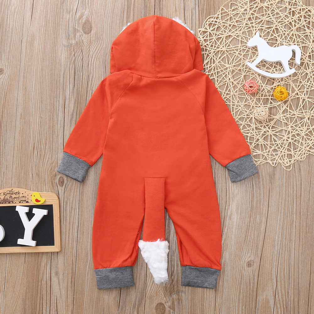 cbbe7fde5 Baby Girls Boys Rompers 3D Cartoon Fox Hooded Romper Jumpsuit ...