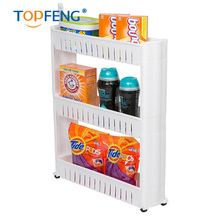 multifunction White Gap removable Storage Shelf rack For Kitchen Skating Movable Plastic Bathroom Shelf Save Space 3 layer glide