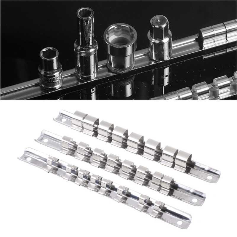 Soporte para herramientas de acero inoxidable duradero con 8 clips organizadores de 6,35 mm y 9,5 mm