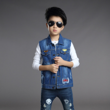 UK Flag Boys Vest Denim Ripped Coat Denim Kids Cowboy Vest Waistcoat Sleeveless Jean Jackets Outerwear Jeans Waistcoats For Boys