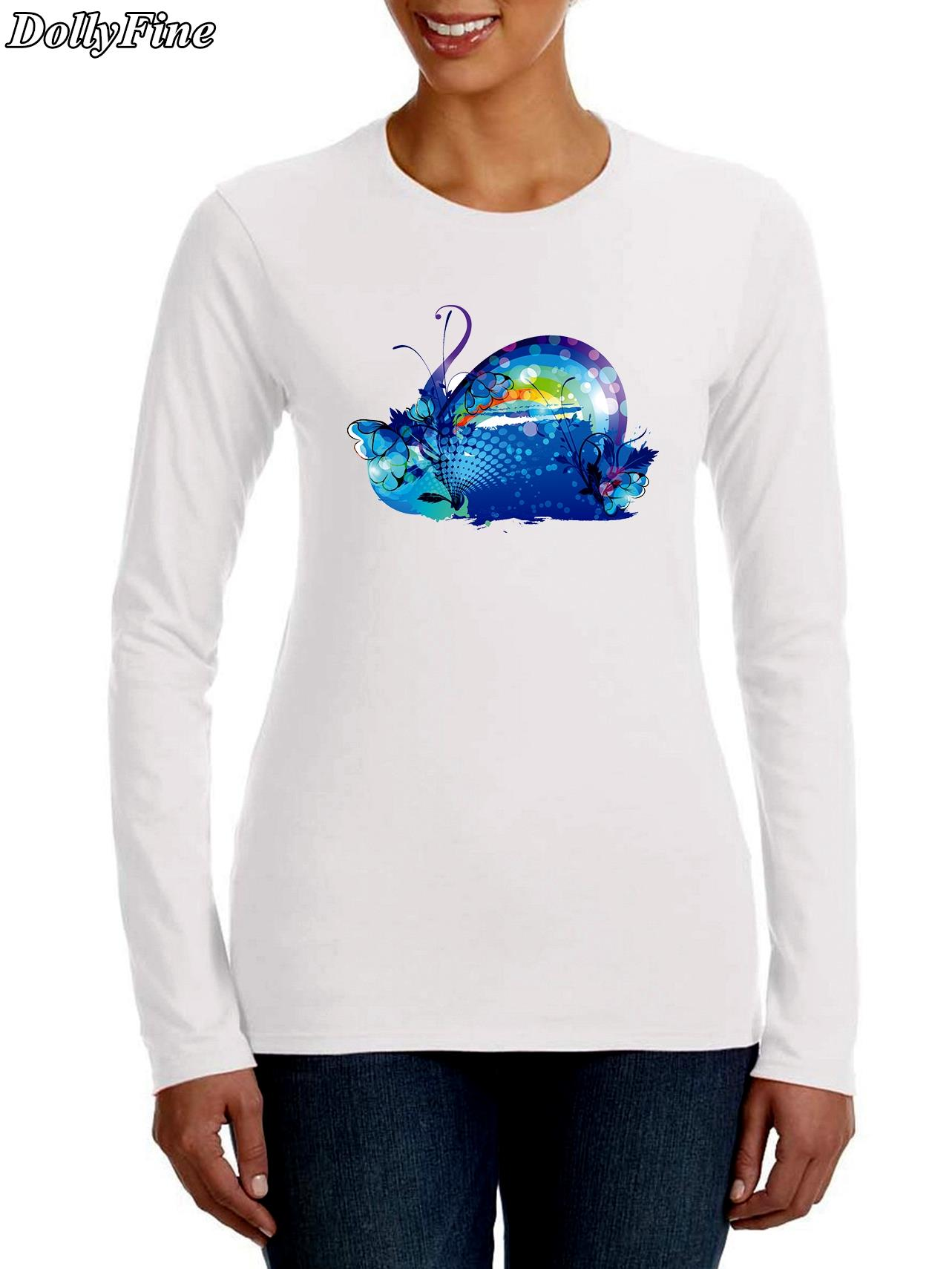 Shirt design womens - 2016 New Arrivals Funny Hand Painted Design Women T Shirt Hipster Tops Customize Printed Long Sleeve