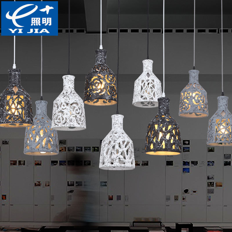 Nordic retro ceramic iron industrial pendant lights restaurant  bar coffee dining room hang lamp 110-240V free shipping 5 pcs nordic restaurant coffee retro shop pendant lights bar loft iron pendant lamp 2d geometric character lamps