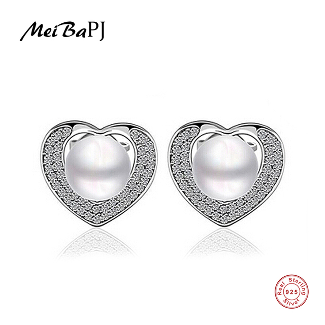 Meibapj Best Price 925 Sterling Silver Earrings Natural Freshwater Pearl Jewelry For Women Platinum