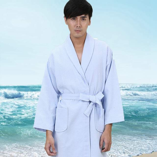 65ba1598c7 placeholder Waffle cotton bathrobe men xxl pajamas women nightgown ladies  girls home hotel white soft long cool