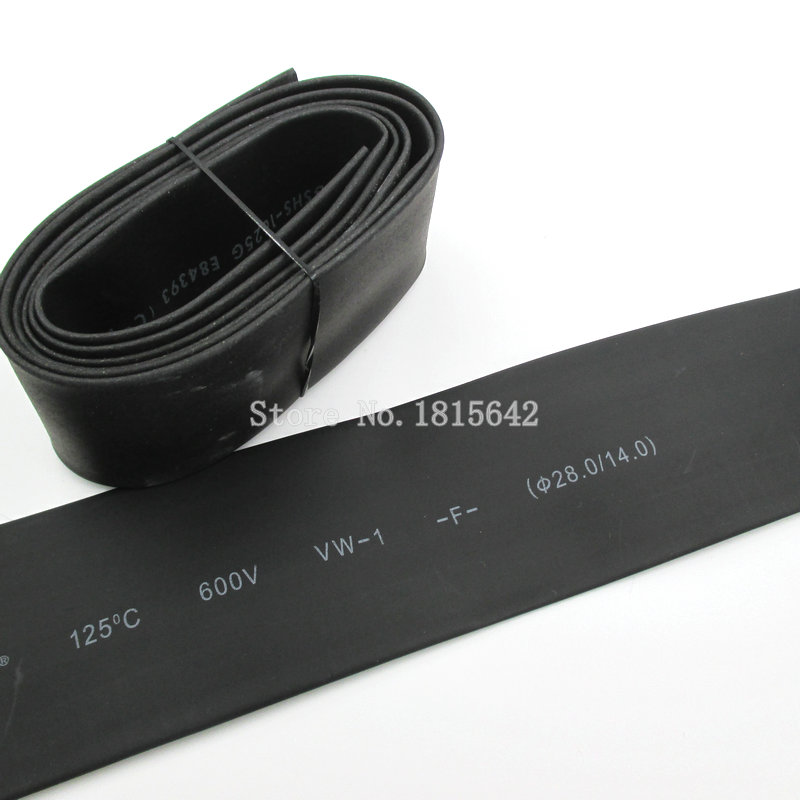 1 Meter 28mm Heat Shrink Heatshrink Heat Shrinkable Tubing Tube Sleeving Wrap Wire Black Color