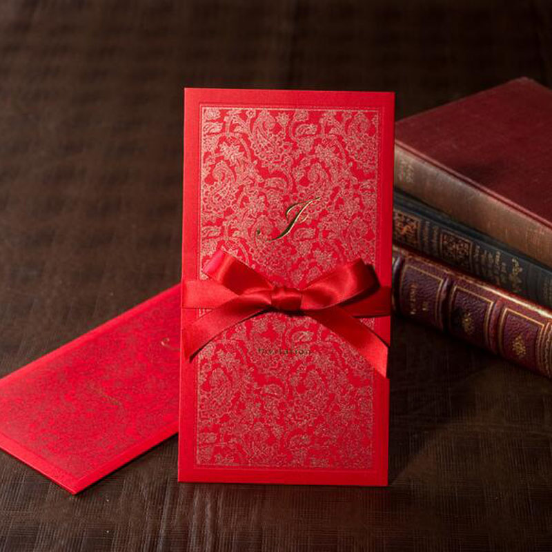 1pcs red sample laser cut marriage wedding invitation cards with ribbon 3d card greeting cards postcard event party supplies